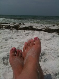 Carla's toes at Santa Rosa Beach