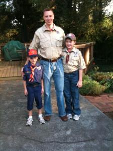 """Mr. Lance"" with his Tiger and Webelos, Harris and Barron."