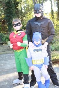 The Wallace boys as Batman, Robin and little Batman