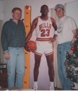 Michael Jordan cardboard stand up with Lee and Lance