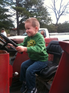 Carlton on Poppy's tractor