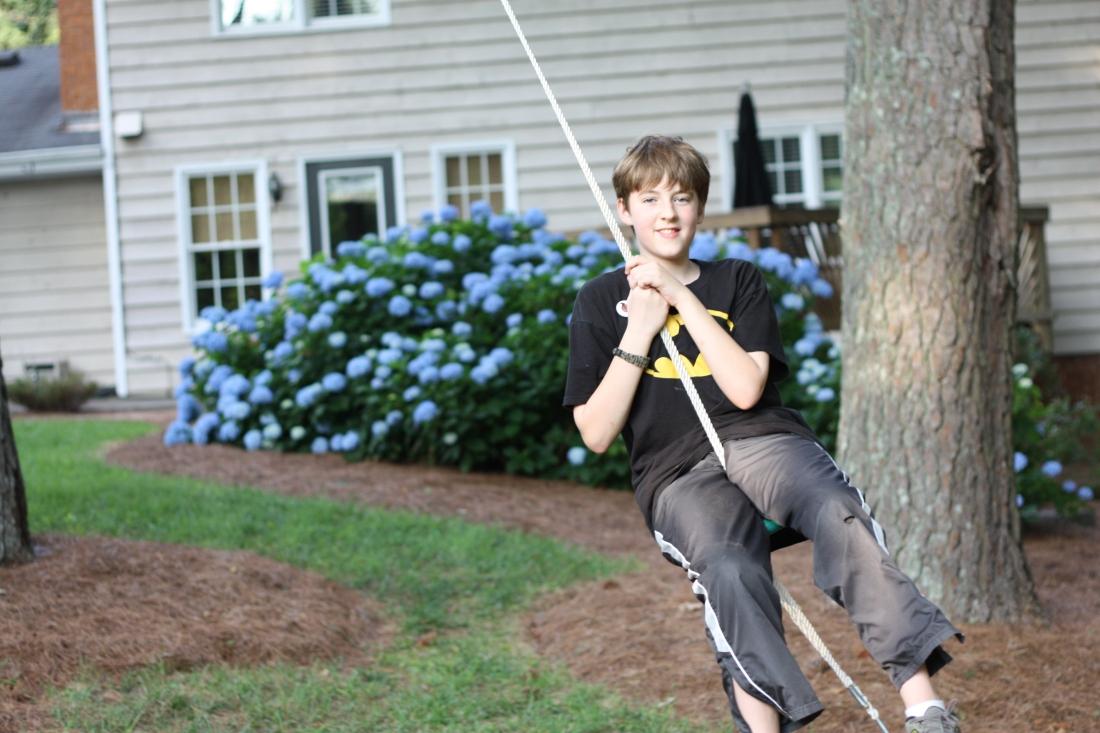 Barron on the rope swing