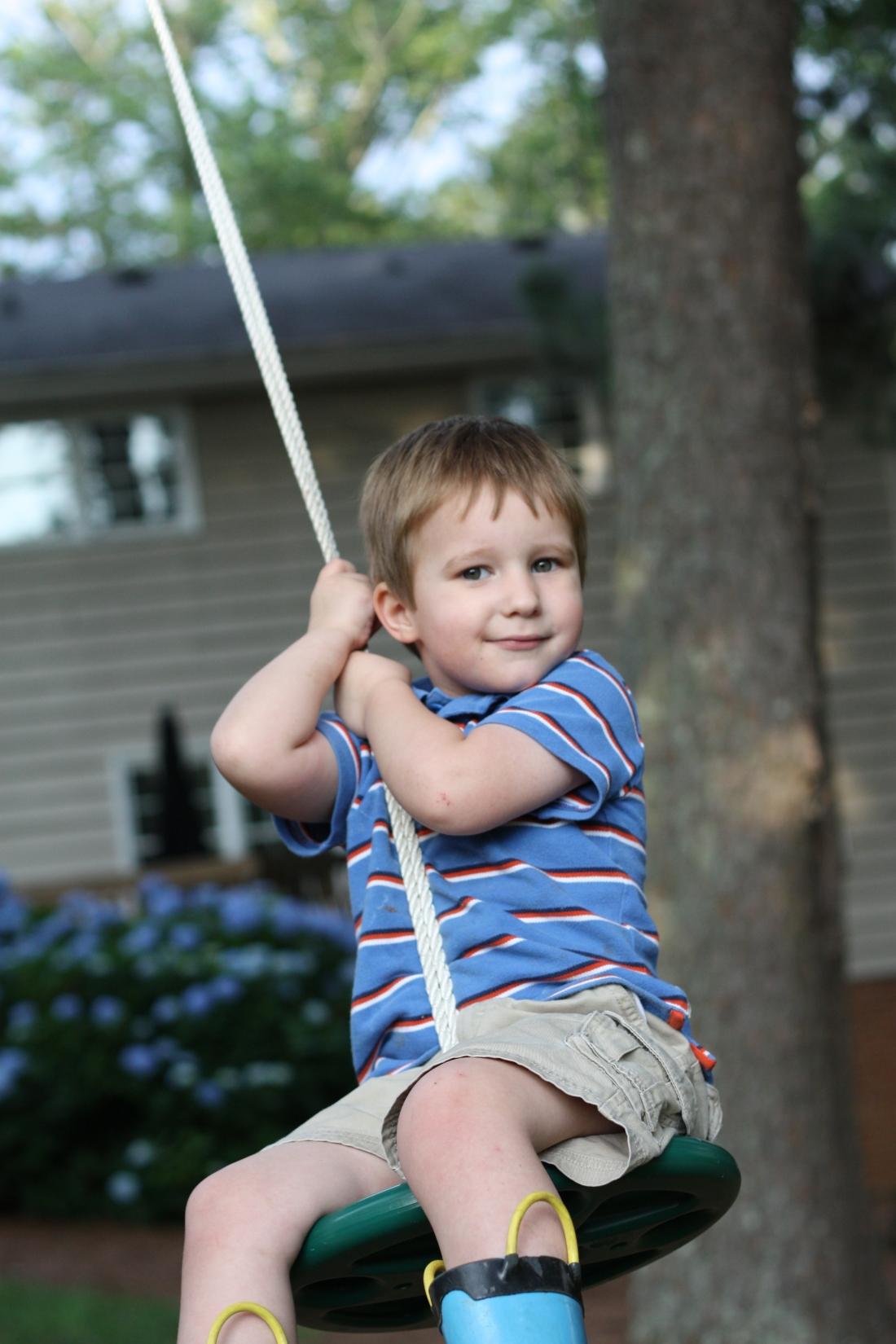 Carlton on the rope swing