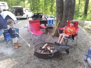 Carlton and Harris roasting marshmallows.