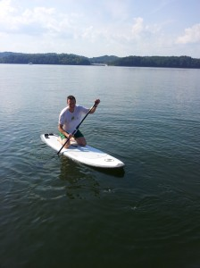 Kneeling on the stand-up paddle boarding