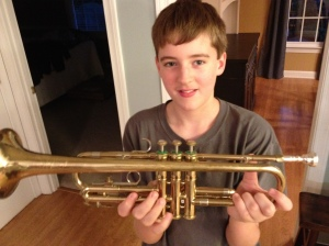 Barron shows off his new trumpet