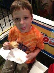 Harris eats a fried Twinkie