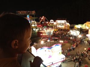 Carlton looking down on the Gwinnett County Fair from the ferris wheel.