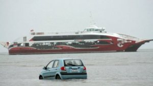 Car in the Pacific Ocean