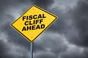 fiscal cliff ahead road sign