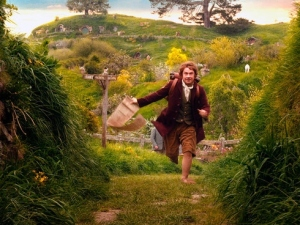 Bilbo Baggins runs to catch up with the party of dwarves headed off on an unexpected journey.