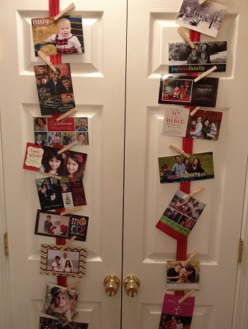Christmas cards on pantry doors
