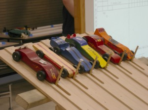 Pinewood Derby track starting line.