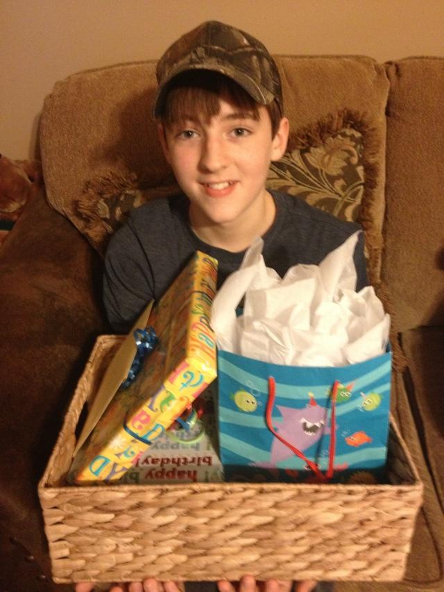 Barron with birthday presents