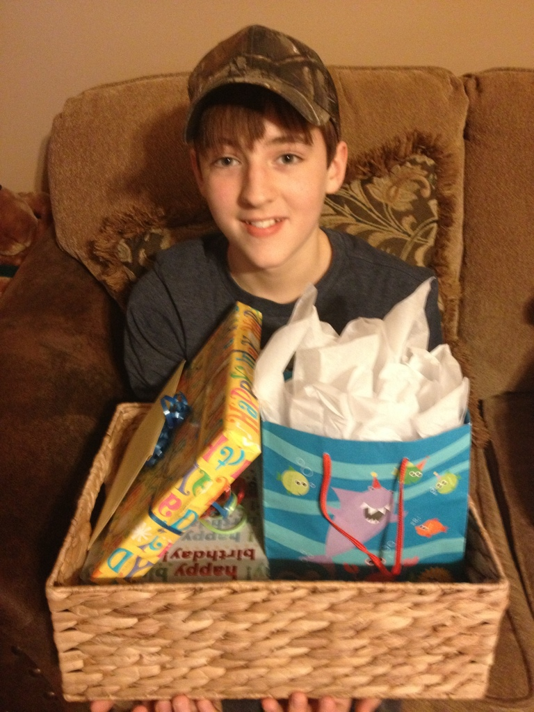 Barron with birthday presents