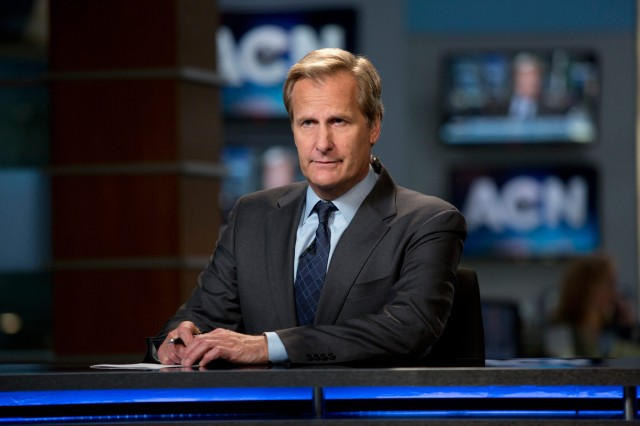 """Jeff Daniels in a not so """"dumb and dumber"""" pose as the anchor of ACN """"News Night with Will McAvoy."""" Daniels won an Emmy this week for his work in the role."""