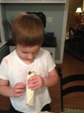 Carlton discovers a vegetable in his fajita.