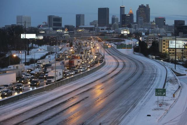 Traffic stands still in snowy Atlanta