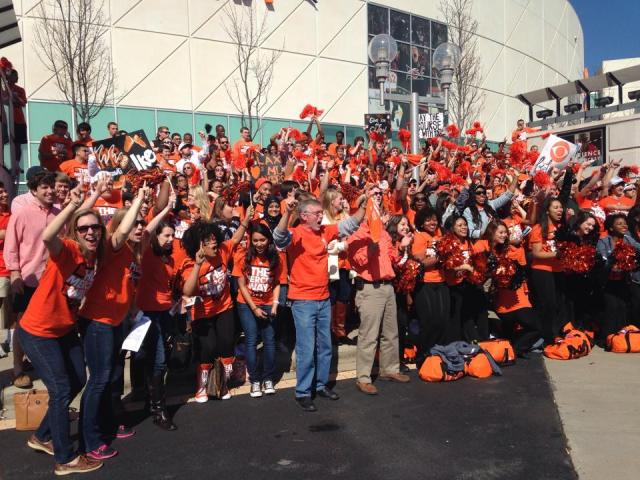 The Mercer Entourage in Raleigh to witness the biggest win in school history. Photo courtesy of Cindy Drury of Mercer Campus Life.