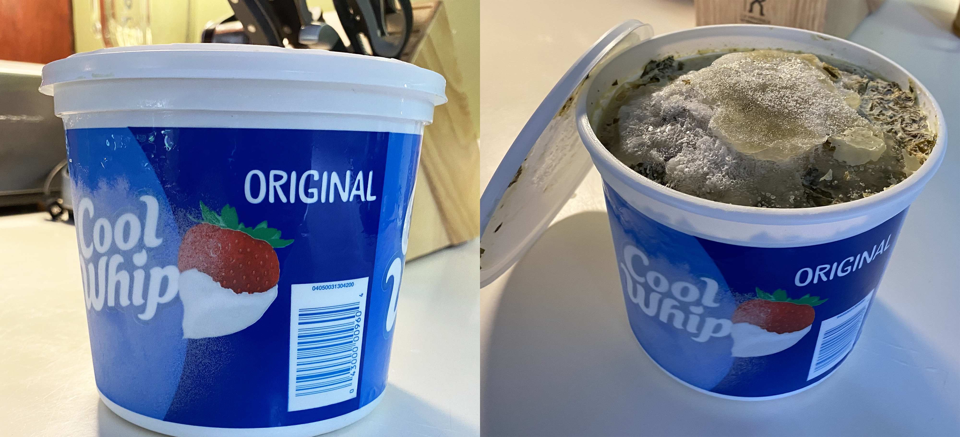 Two Cool Whip containers, one closed and one open to reveal turnip greenss