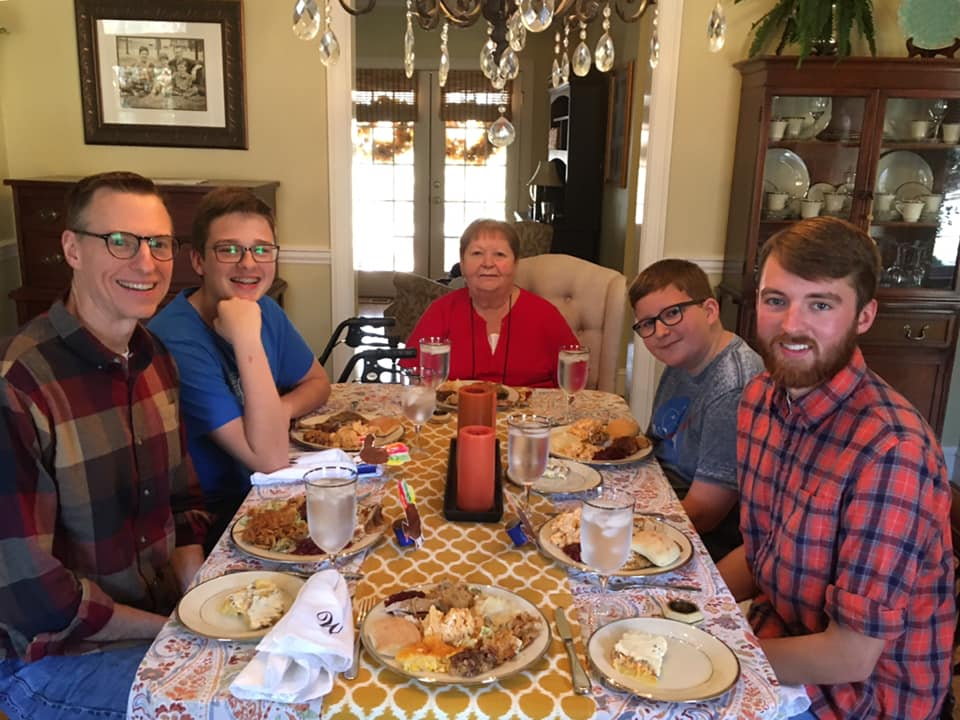 The Wallaces at the Thanksgiving table in 2019.