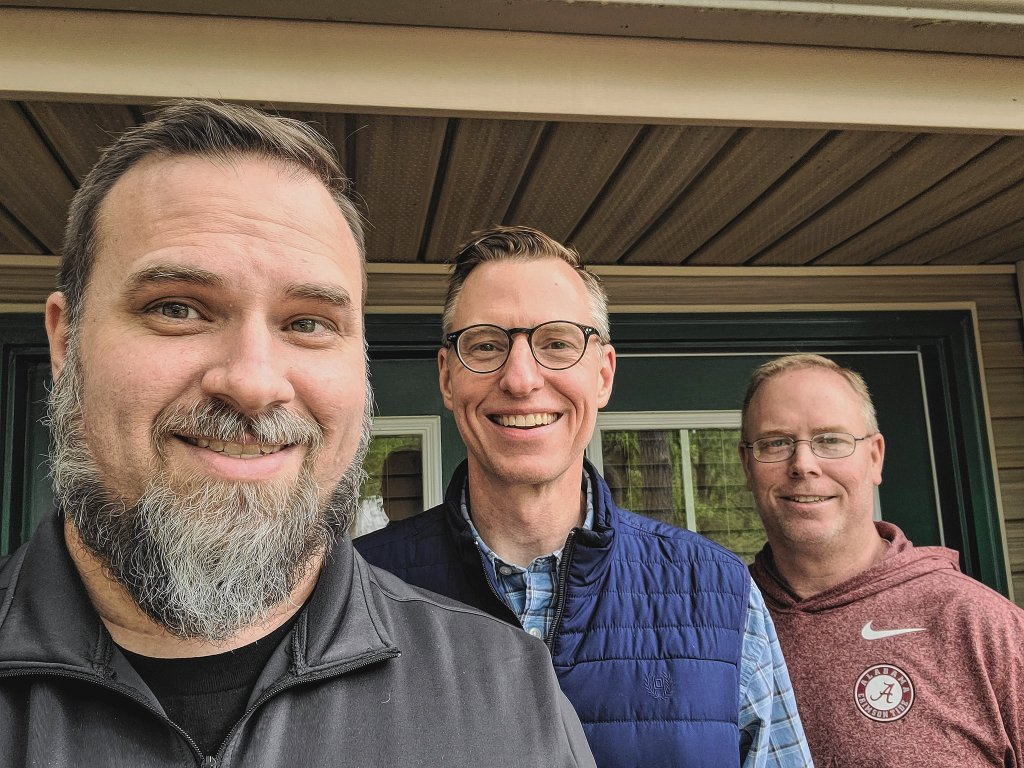 three brothers on the porch. Lyle Wallace. Lance Wallace. Lee Wallace.