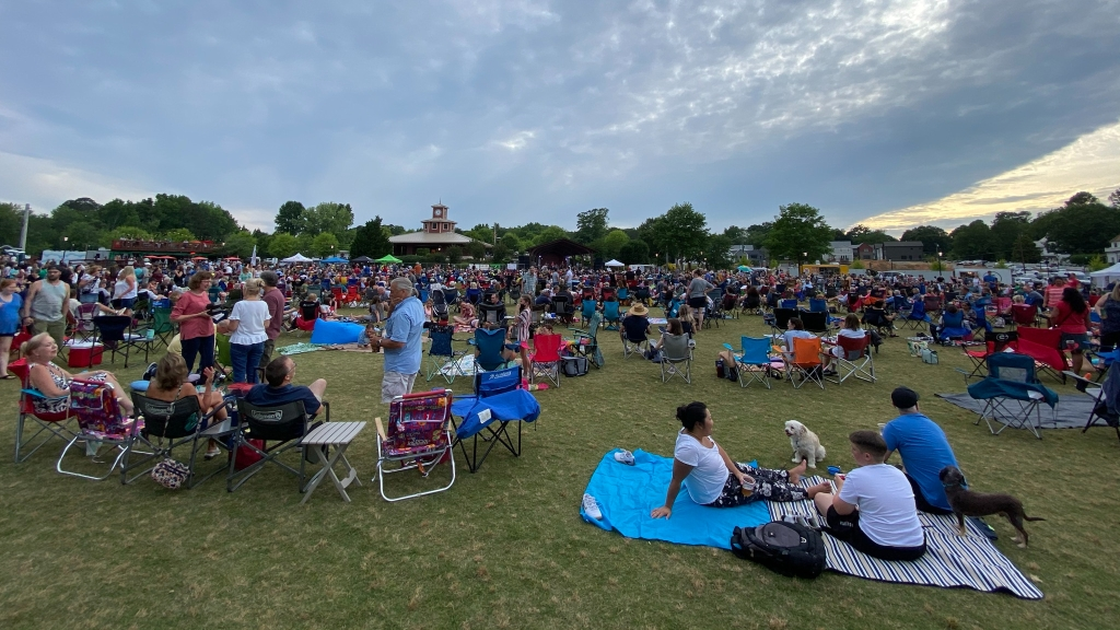 people on blankets with dogs and in folding camp chairs on a field enjoy an outdoor concert
